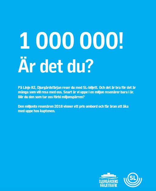 Nu koras årets miljonte passagerare på Djurgårdsfärjan