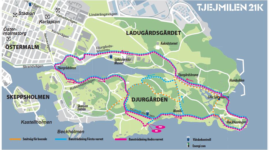Trafiken till Djurgården under Tjejmilen 21K den 21 april 2018