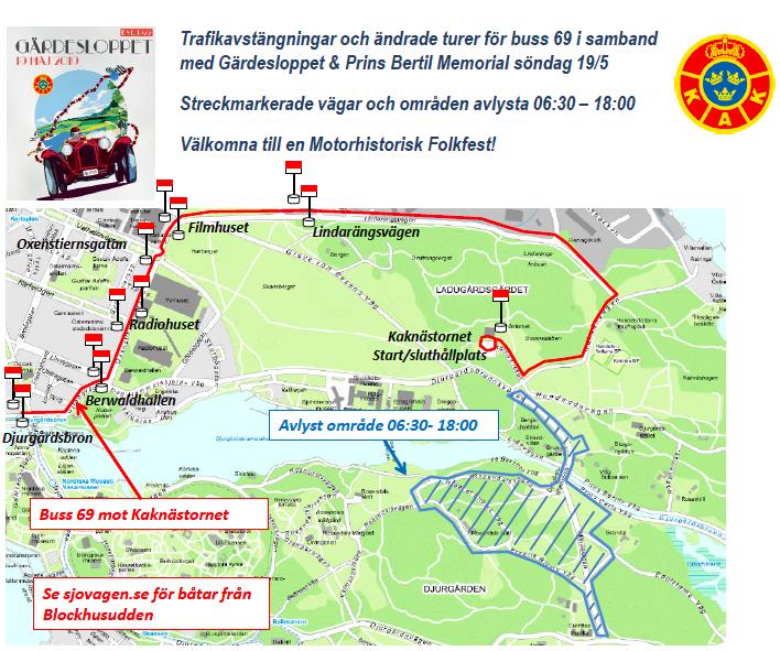 Trafikpåverkan under Gärdesloppet den 19 maj 2019