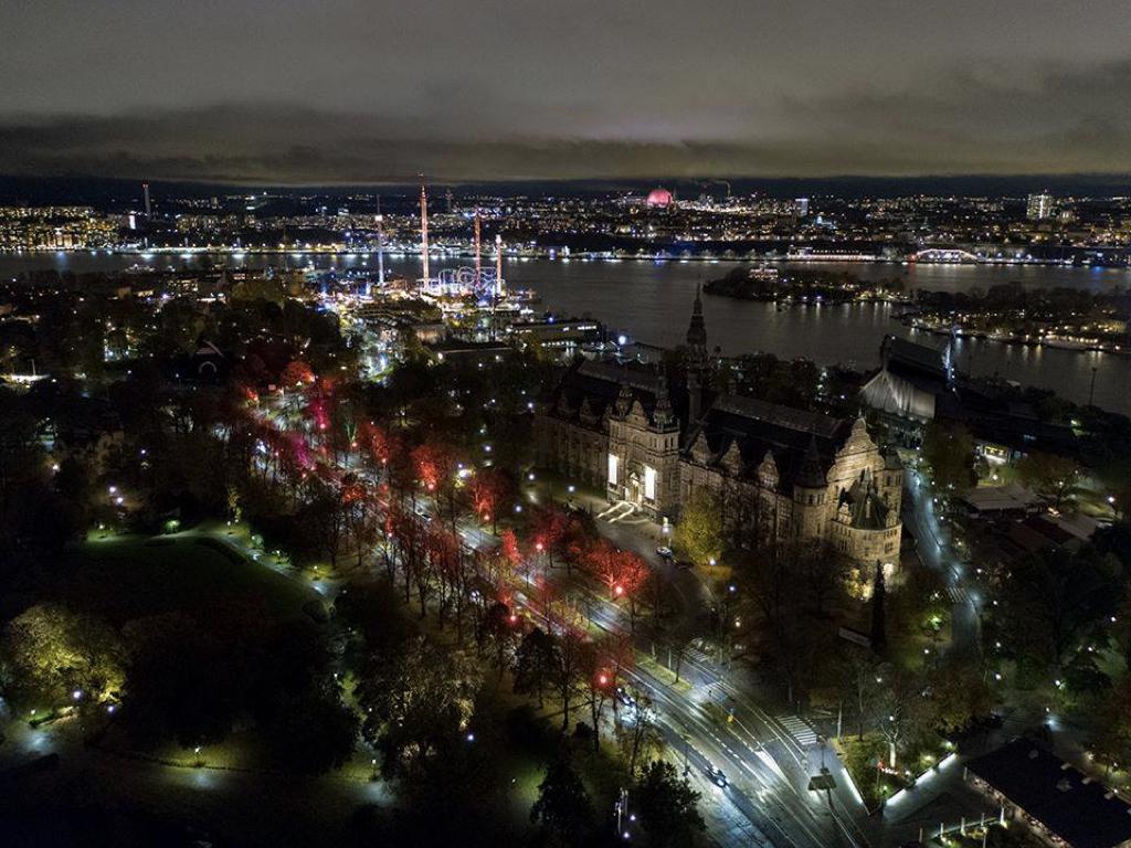 vacker färgglad belysning lyser upp Djurgården i advent
